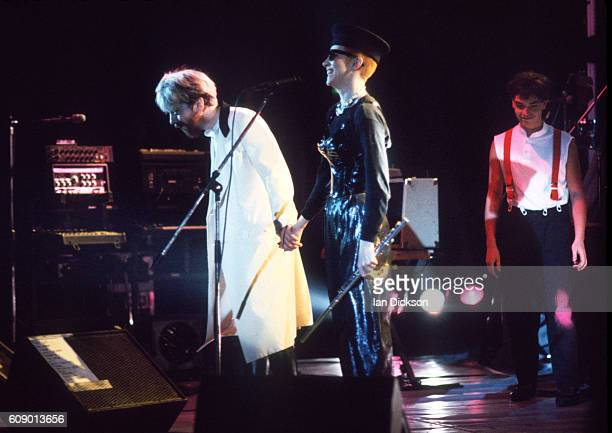 Dave Stewart and Annie Lennox of Eurythmics performing on stage at Touch Tour, Hammersmith Odeon, London 03 December 1983.