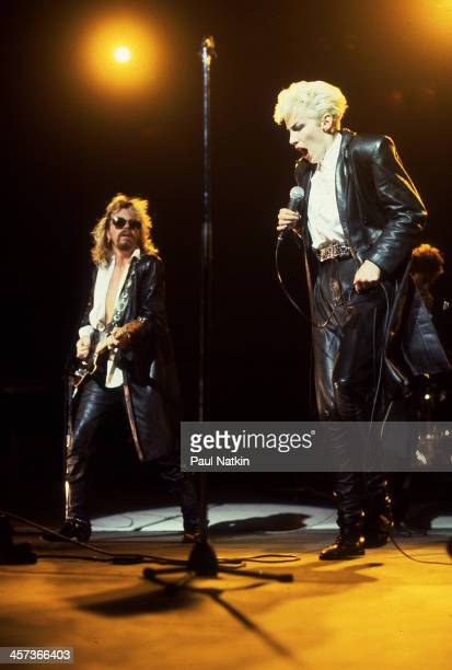 Dave Stewart and Annie Lennox of the Eurythmics perform at the Poplar Creek Music Theater Hoffman Estates Illinois August 21 1986