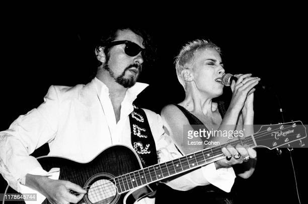 Dave Stewart and Annie Lennox perform onstage circa 1985