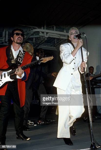 Dave Stewart and Annie Lennox performing in concert circa 1989 in New York City.
