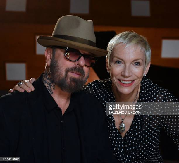 Dave Stewart and Annie Lennox the music duo who formed the band The Eurythmics in London in 1980 pose inside Studio 3 at the EastWest Studios in...