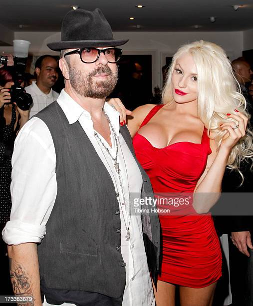 Dave Stewart and Courtney Stodden attend the 'Dave Stewart Jumpin' Jack Flash The Suicide Blonde' photo exhibition at Morrison Hotel Gallery on July...