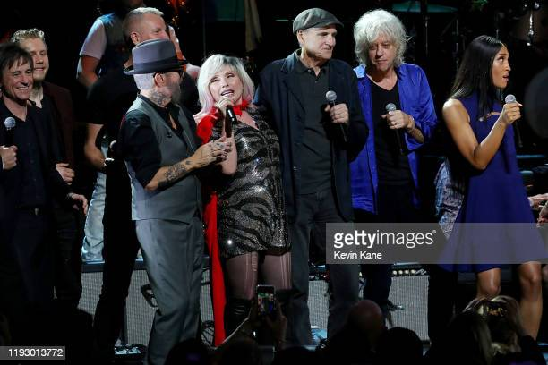 Dave Stewart Debbie Harry James Taylor Bob Geldof and Mj Rodriguez perform onstage during the The Rainforest Fund 30th Anniversary Benefit Concert...