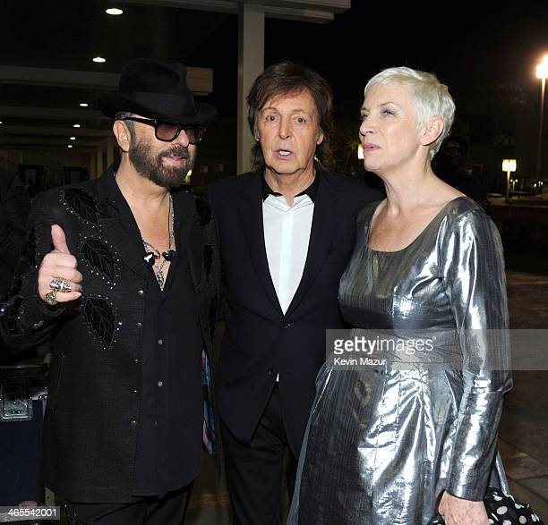 Dave Stewart Paul McCartney and Annie Lennox attend The Night That Changed America A GRAMMY Salute To The Beatles at Los Angeles Convention Center on...