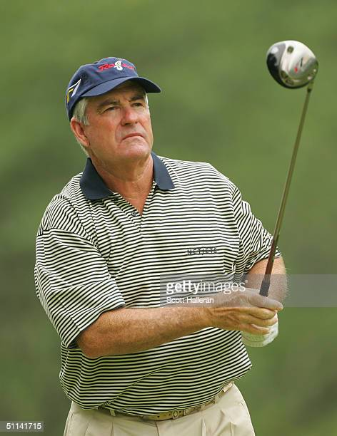 Dave Stockton hits a shot during the first round of the 25th US Senior Open at Bellerive Country Club on July 29 2004 in St Louis Missouri