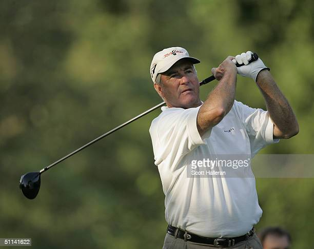 Dave Stockton hits a shot during the third round of the 25th US Senior Open at Bellerive Country Club on August 1 2004 in St Louis Missouri