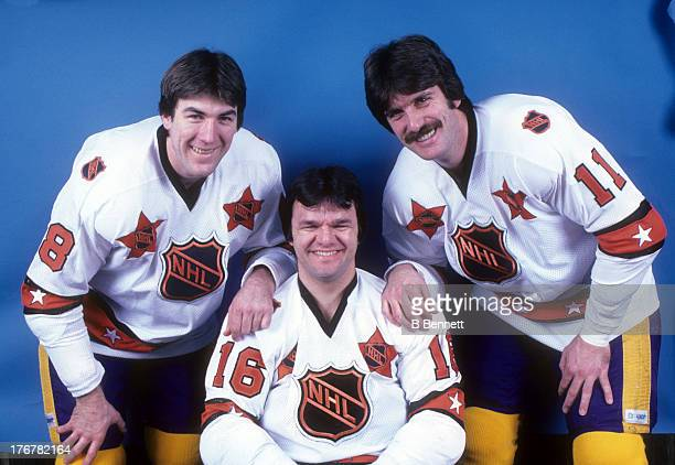 Dave Taylor, Marcel Dionne and Charlie Simmer of the Wales Conference and Los Angeles Kings pose for a portrait before their game against the...