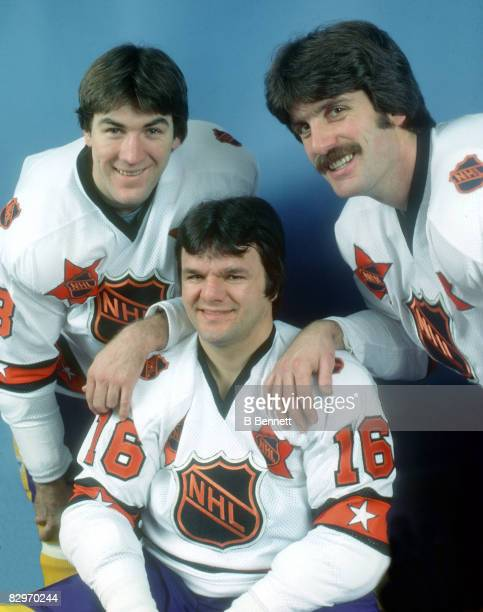 Dave Taylor Marcel Dionne and Charlie Simmer of the Wales Conference and Los Angeles Kings pose for a portrait before their game against the Hartford...