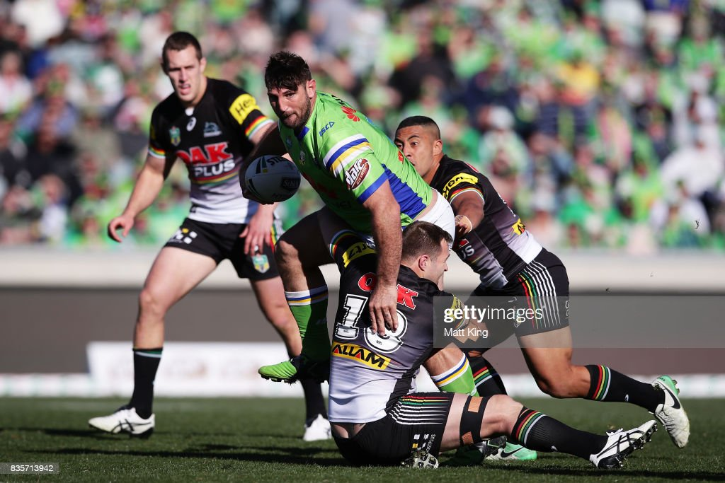 Dave Taylor of the Raiders takes on the defence during the round 24 NRL match between the Canberra Raiders and the Penrith Panthers at GIO Stadium on August 20, 2017 in Canberra, Australia.