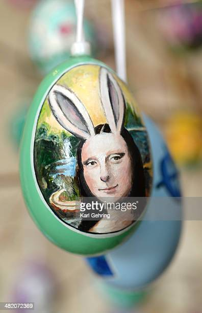 Dave Thayer painted his version of the Mona Lisa on an easter egg Thayer paints a handful of easter eggs each year and adds them to his tree of eggs...