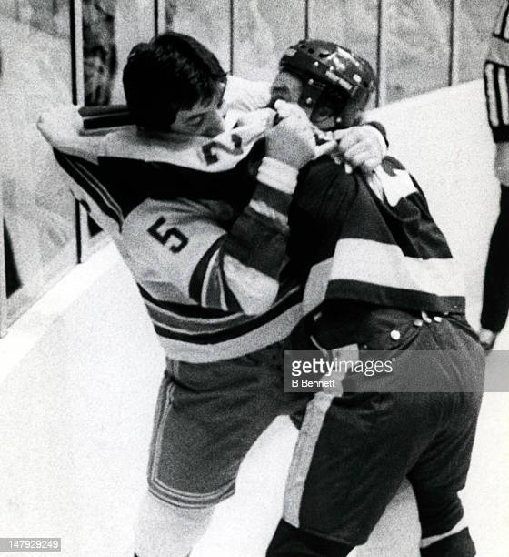 Dave 'Tiger' Williams of the Toronto Maple Leafs fights with Carol Vadnais of the New York Rangers on November 22 1978 at the Madison Square Garden...