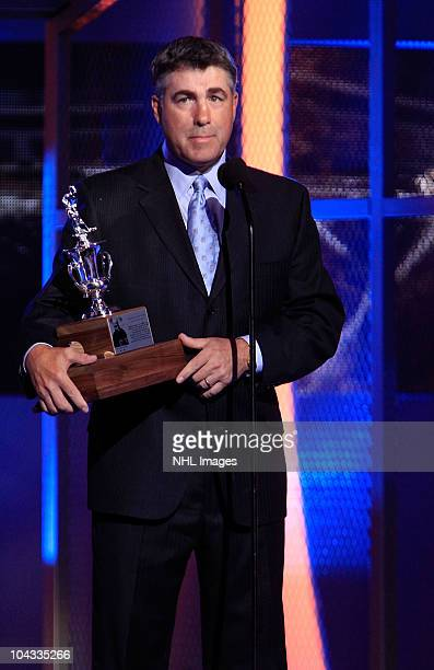 Dave Tippett accepts the Jack Adams Award at the 2010 NHL Awards Show at The Palms Casino Resort on June 23 2010 in Las Vegas Nevada