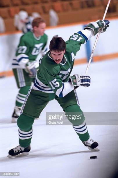 Dave Tippett of the Hartford Whalers skates against the Toronto Maple Leafs during NHL game action on October 30 1986 at Maple Leaf Gardens in...