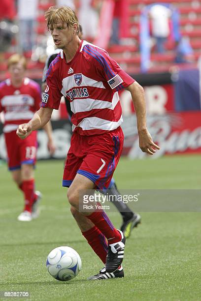 Dave van den Bergh of the FC Dallas dribbles the ball at Pizza Hut Park on June 7, 2009 in Frisco, Texas.