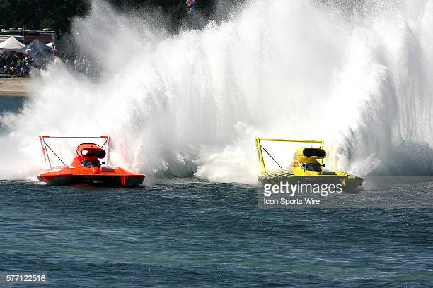 Dave Villwock and Jean Theoret at the San Diego Thunderboat Regatta Unlimited Hydroplane race on Mission Bay in San DiegoCA USA