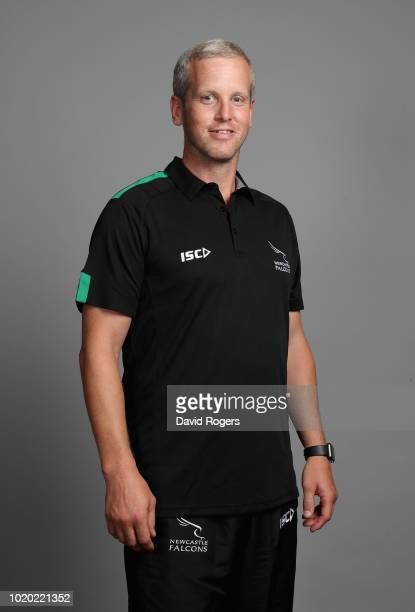 Dave Walder head coach of Newcastle Falcons poses for a portrait during the Newcastle Falcons squad photo call for the 201819 Gallagher Premiership...