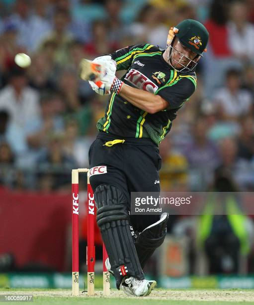 Dave Warner of Australia bats during game one of the Twenty20 international match between Australia and Sri Lanka at ANZ Stadium on January 26 2013...