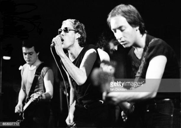 Dave Wight, Riff Regan and Steve Voice of punk band London, performing on stage in London, 1977.