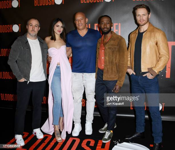Dave Wilson Eiza Gonzalez Vin Diesel Lamorne Morris and Sam Heughan attend the photocall of Sony Pictures' Bloodshot at The London Hotel on March 06...
