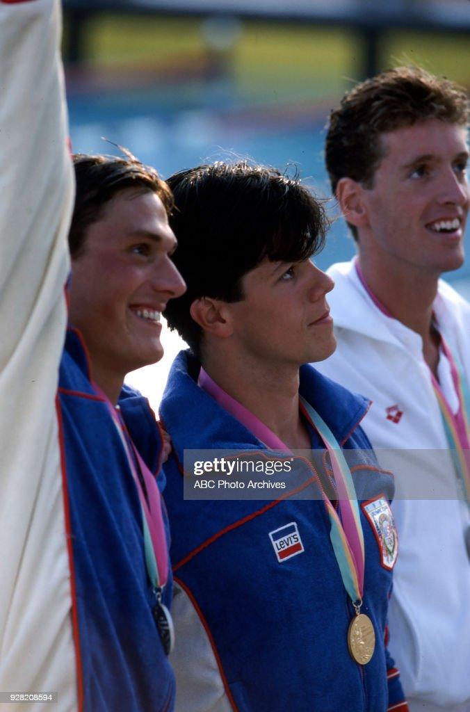 Men's Swimming 100 Metre Backstroke Medal Ceremony At The 1984 Summer Olympics : News Photo