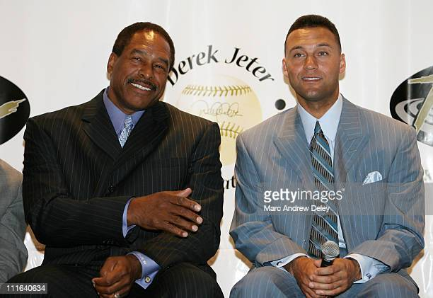 Dave Winfield and Derek Jeter during 10th Annual Derek Jeter Turn 2 Foundation Dinner Press Conference at Marriott Marquis in New York City New York...