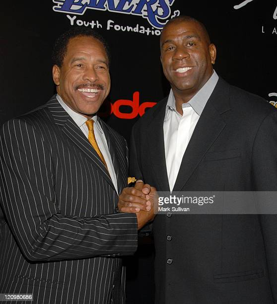 Dave Winfield and Magic Johnson during LA Lakers 3rd Annual Casino Night and Poker Invitational Arrivals at Barker Hanger in Santa Monica California...