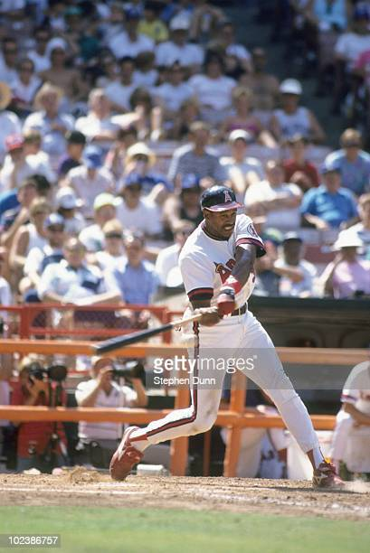 Dave Winfield of the California Angels bats during the game against the Minnesota Twins at Anaheim Stadium on August 7 1991 in Anaheim California