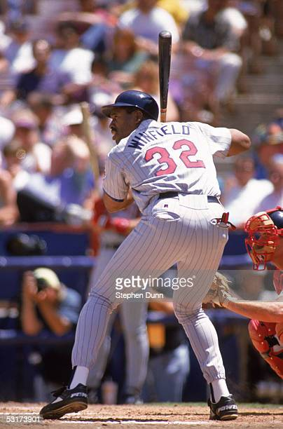 Dave Winfield of the Minnesota Twins bats against the California Angels during a game at Anaheim Stadium on May 12 1993 in Anaheim California