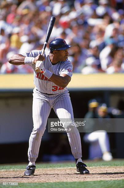 Dave Winfield of the Minnesota Twins bats against the Oakland Athletics during the game at Oakland Alameda Coliseum on April 17 1994 in Oakland...