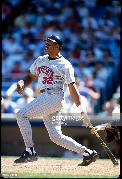 Dave Winfield of the Minnesota Twins swings at a pitch at Yankee Stadium in Bronx New York in 1994