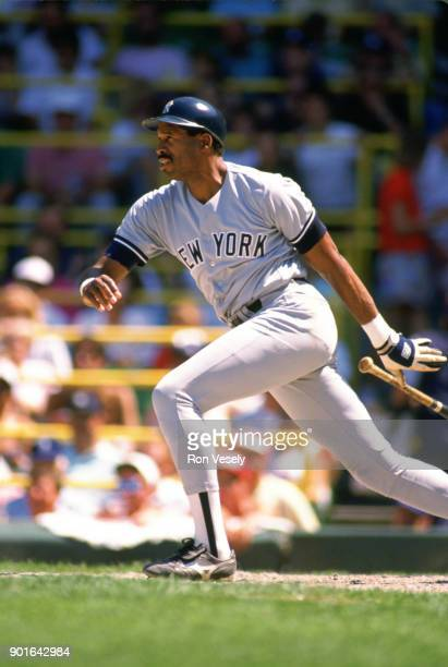 Dave Winfield of the New York Yankees bats during an MLB game versus the Chicago White Sox at Comiskey Park in Chicago Illinois during the 1987 season