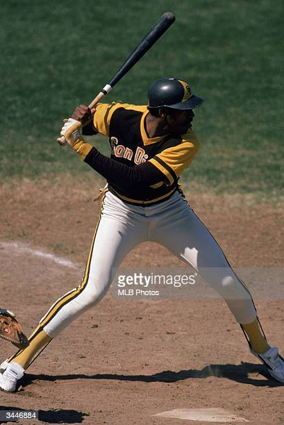 Dave Winfield of the San Diego Padres steps into the pitch during a game circa 197380