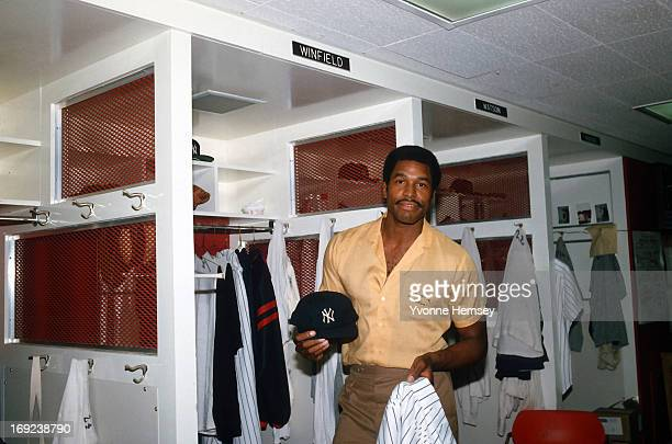 Dave Winfield returns to the NY Yankees locker room in the Bronx New York August 4 1981 after the baseball strike ends Play was halted since June 12...