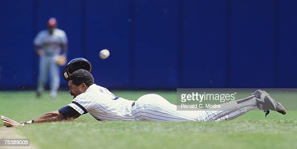 Dave Winfiield of the New York Yankees steals second base during a MLB game against the Cleveland Indians at Yankee Stadium on April 27 1986 in the...
