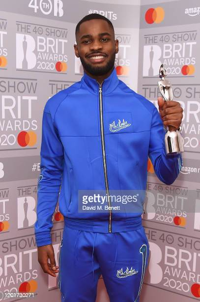 Dave, winner of the Mastercard Album Of The Year award, poses in the winners room at The BRIT Awards 2020 at The O2 Arena on February 18, 2020 in...