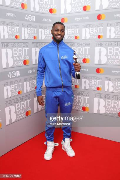 Dave winner of the Mastercard Album of The Year poses in the winners room at The BRIT Awards 2020 at The O2 Arena on February 18 2020 in London...