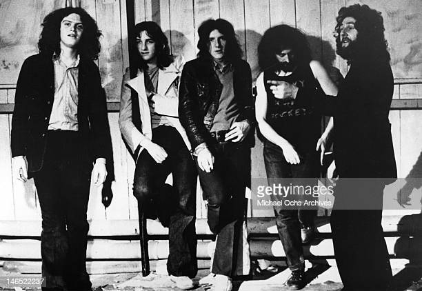 Dave Winthrop Roger Hodgson Frank Farrell Rick Davies Kevin Currie of the rock band 'Supertramp' pose for a portrait in 1972