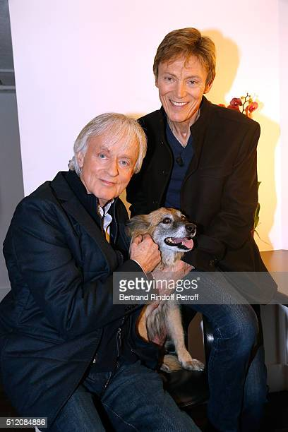 Dave with his Dog Chance and Patrick Loiseau present their Book Ma chienne de vie during the 'Vivement Dimanche' French TV Show at Pavillon Gabriel...