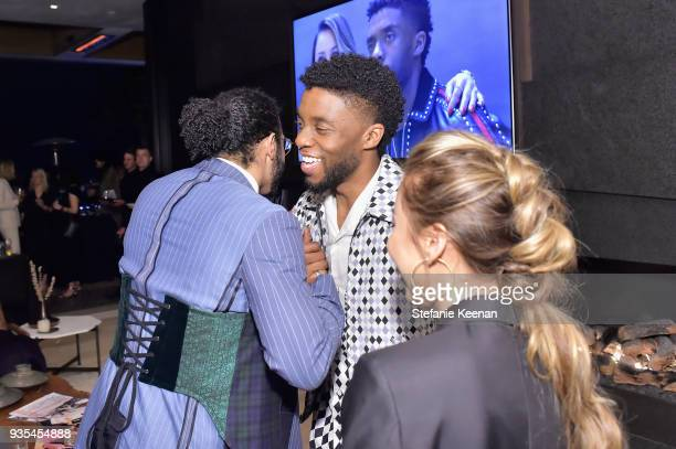 Daveed Diggs and Chadwick Boseman attend The Hollywood Reporter and Jimmy Choo Power Stylists Dinner on March 20 2018 in Los Angeles California