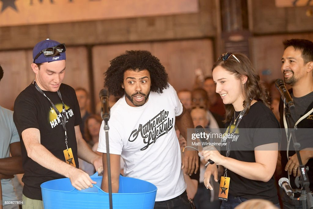 Daveed Diggs and Lin-Manuel Miranda announce lottery ticket winners at the #Ham4Ham featuring Lin-Manuel Miranda at the Pantages Theatre on August 16, 2017 in Hollywood, California.