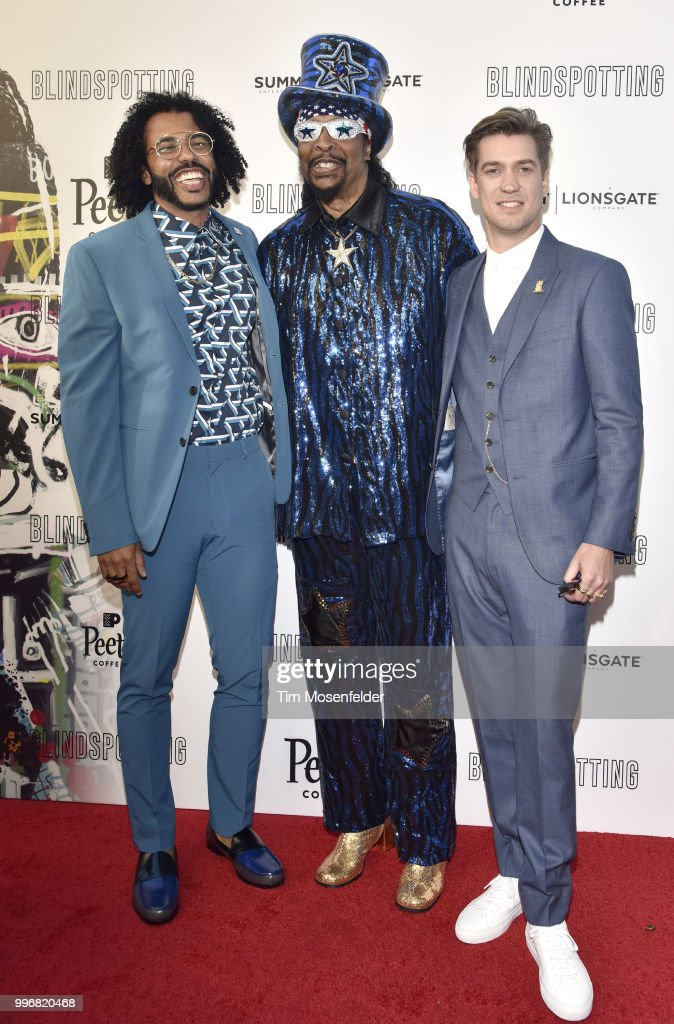 Daveed Diggs, Bootsy Collins, and Rafael Casal attend the premiere of Summit Entertainment's 'Blindspotting' at The Grand Lake Theater on July 11, 2018 in Oakland, California.
