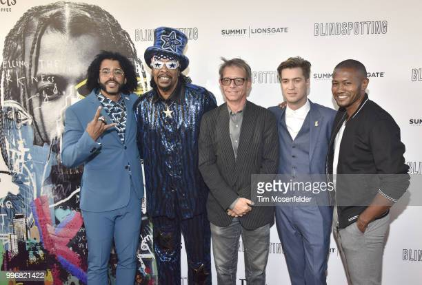 Daveed Diggs Bootsy Collins Keith Calder and Rafael Casal attend the premiere of Summit Entertainment's 'Blindspotting' at The Grand Lake Theater on...