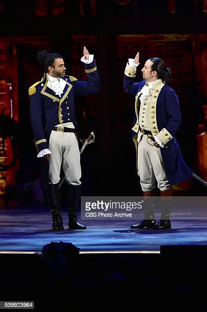 Daveed Diggs LinManuel Miranda and the cast of Hamilton at THE 70TH ANNUAL TONY AWARDS live from the Beacon Theatre in New York City Sunday June 12...