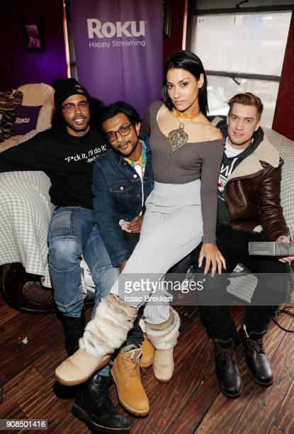 Daveed Diggs Utkarsh Ambudkar Janina Gavankar and Rafael Casal attend Rock Reilly's daytime lounge presented by JCrew NYLON and Roku during Sundance...