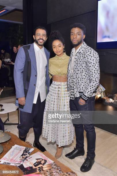 Daveed Diggs Yara Shahidi and Chadwick Boseman attend The Hollywood Reporter and Jimmy Choo Power Stylists Dinner on March 20 2018 in Los Angeles...