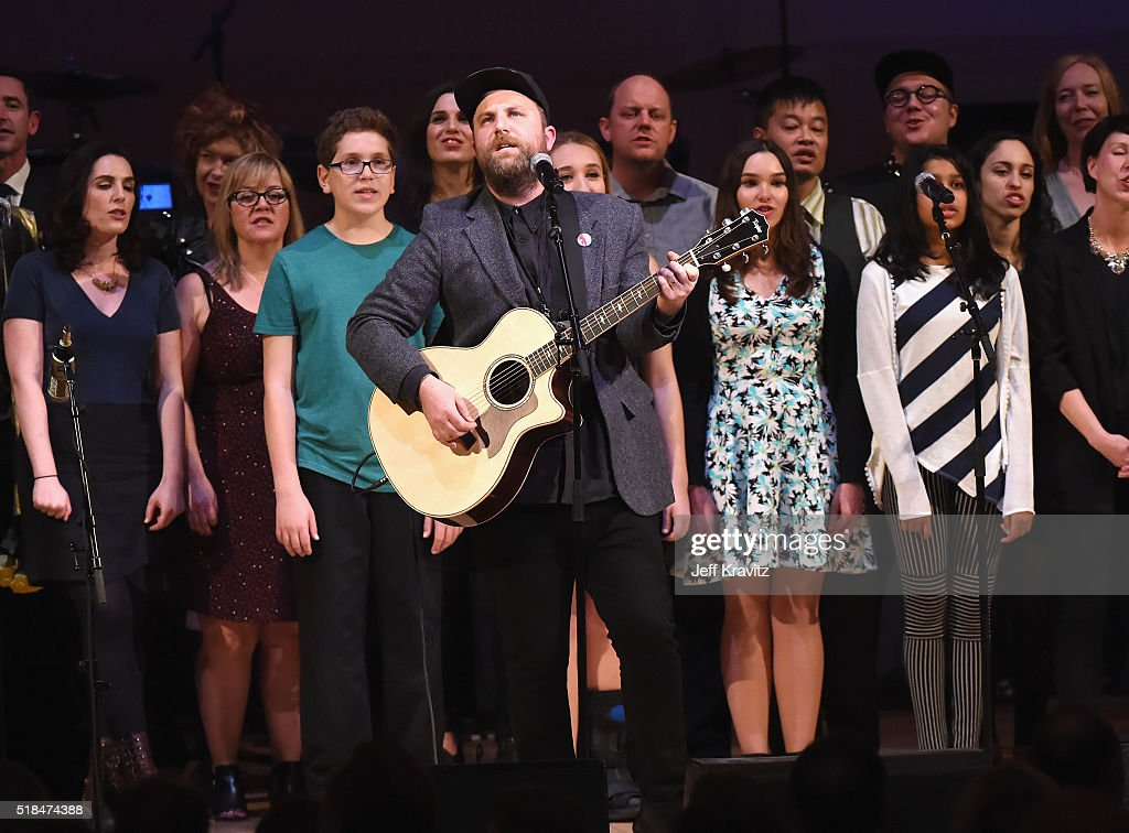 Daveed Goldman and Nobu Adilman of Choir! Choir! Choir! perform onstage at Michael Dorf Presents - The Music of David Bowie at Carnegie Hall at Carnegie Hall on March 31, 2016 in New York City.