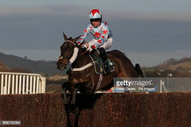Dave's Dream ridden by Jockey Jeremiah McGrat jumps in the Jenny Mould Memorial Handicap Chase