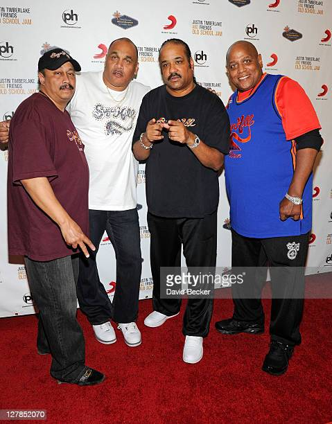 DJ Davey D and Wonder Mike Master Gee and Big Bank Hank of Sugarhill Gang arrive for the Justin Timberlake and Friends Old School Jam at the Planet...