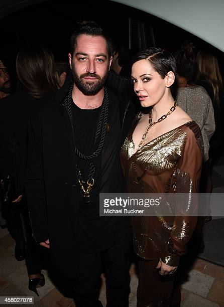 Davey Detail and actress Rose McGowan attend Dsquared2 celebrates first boutique in the USA with Pommery Champagne on October 28 2014 in Los Angeles...
