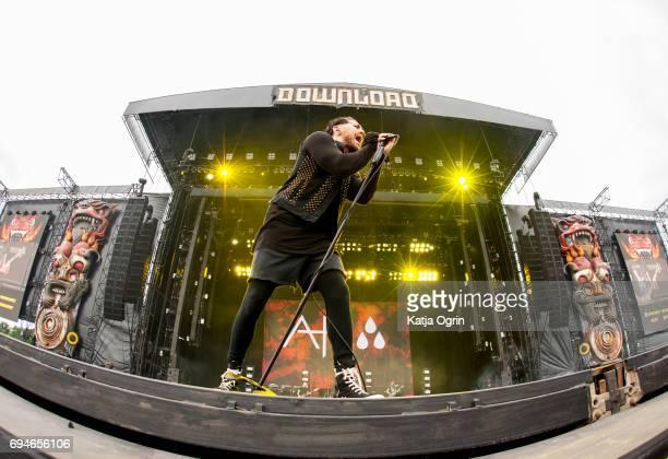 Davey Havok of AFI performing live on Day 2 of Download Festival at Donington Park on June 10 2017 in Castle Donington UK